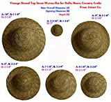 10 Inches (Set of 3) Vintage Round Top Straw Woven Hat for Dolls Bears Country Crafts