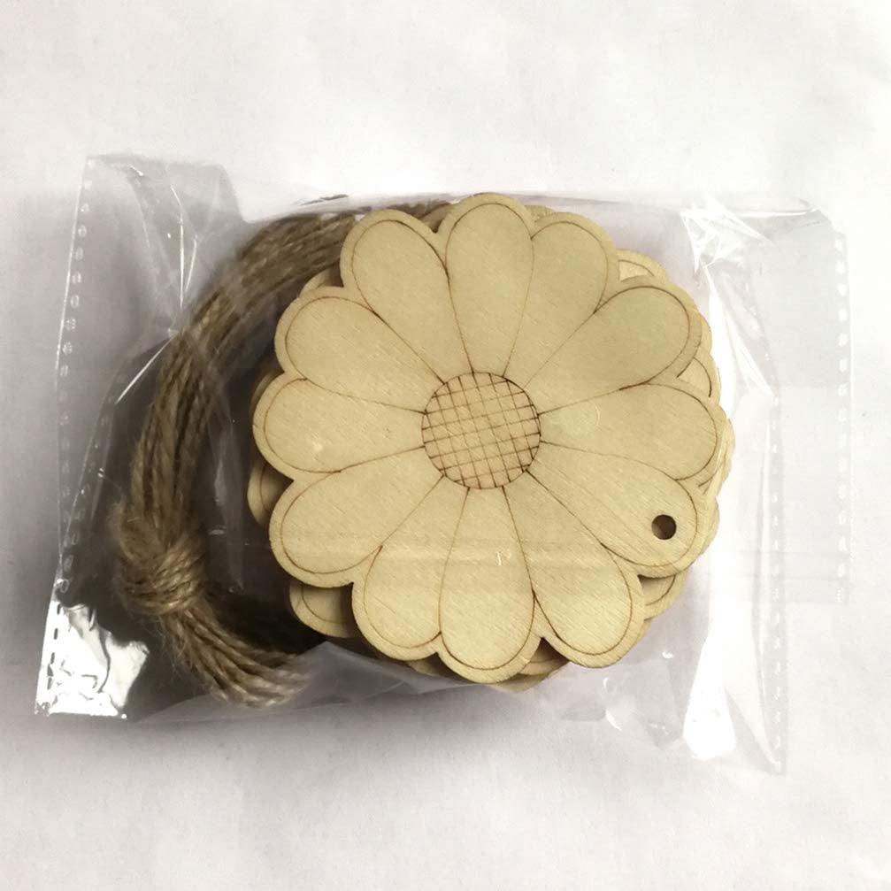 Healifty 10pcs Unfinished Wood Slices Flower Wood Cutouts with Twine Discs DIY Crafts Hanging Embellishments Decoration for Nursery Wedding Anniversary Birthday Valentines Day