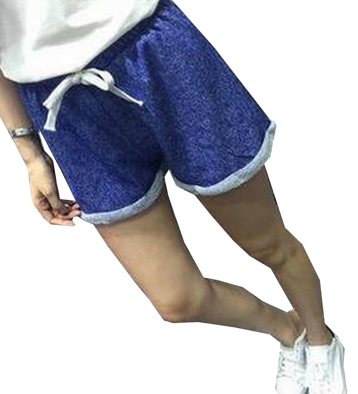 Yayu Womens Girls Curling Wide Leg Casual Shorts Beach Shorts