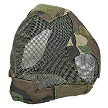 H World Shopping Paintball Airsoft Tactical Wire Mesh Full Face Protection Mask Woodland Camo WLD