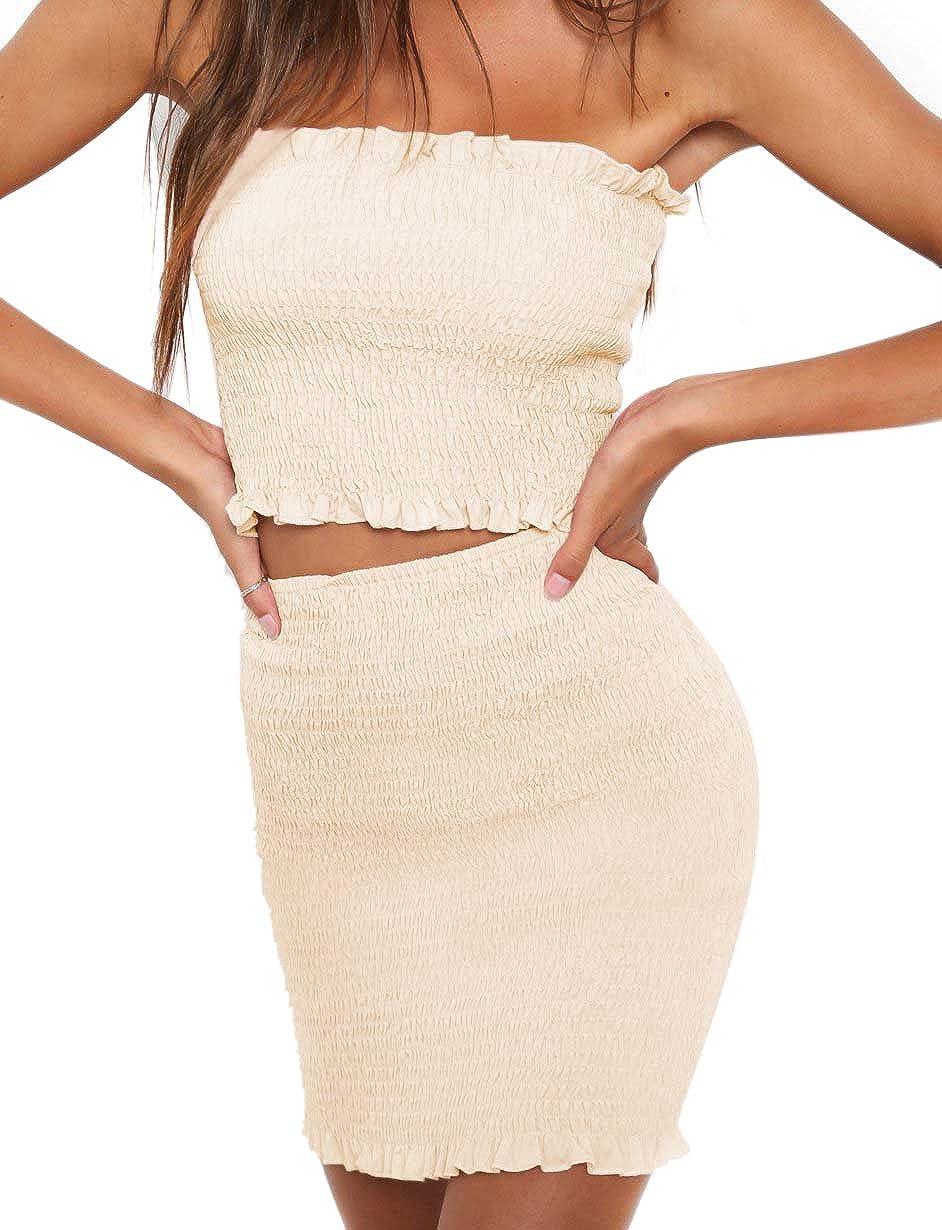 097d8f1ef763 Vestito Due Pezzi Donna Elegante Crop Top e Gonna a Pieghe Vita Alta ...