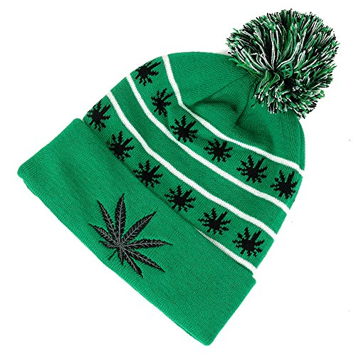 Amazon.com  Marijuana Leaf Pom Pom Acrylic Beanie Hat - Black White   Clothing 3e456938cc0a