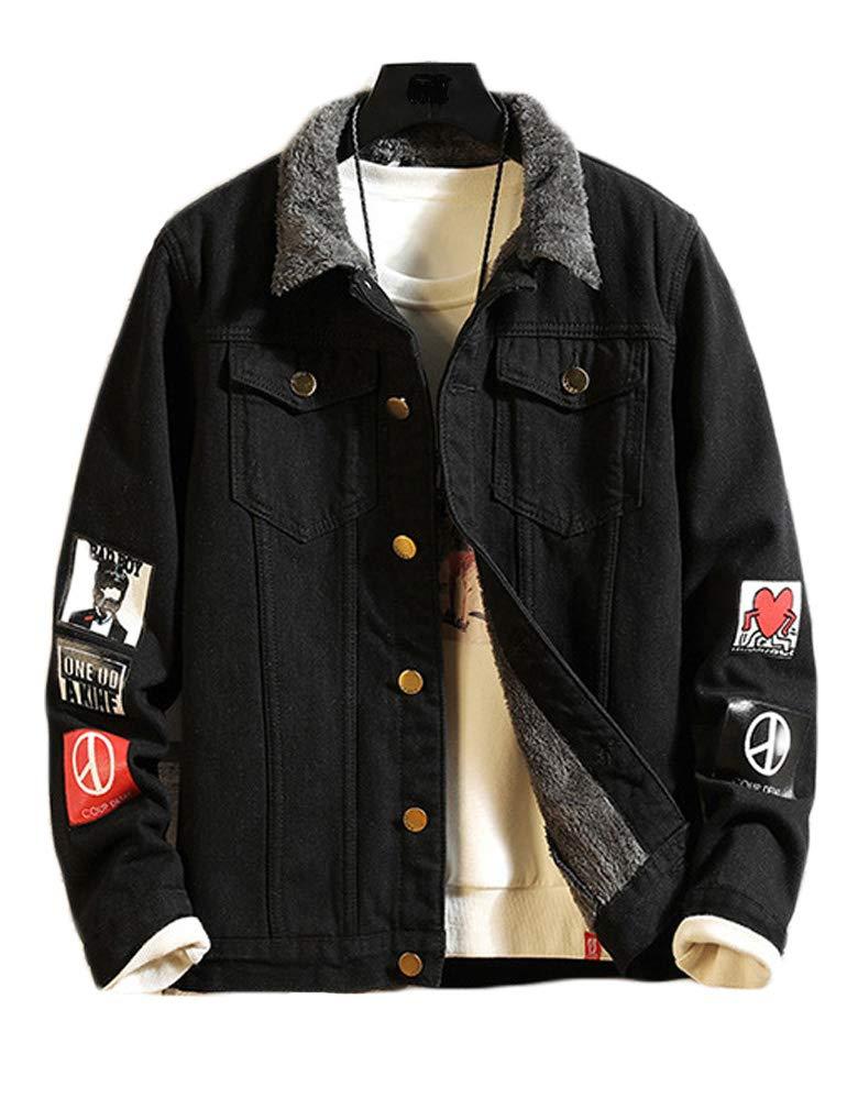 Lavnis Men's Denim Distressed Jacket Casual Button Down Trucker Jacket Jean Coat (S, Thicken Black) by Lavnis