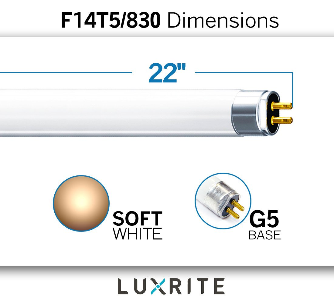 Luxrite F14T5/830 14W 22 Inch T5 Fluorescent Tube Light Bulb, 3000K Soft White, 60W Equivalent, 1140 Lumens, G5 Mini Bi-Pin Base, LR20856, 4-Pack by Luxrite (Image #3)