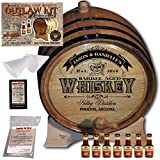 Personalized Whiskey Making Kit (103) - Create Your Own Southern Whiskey - The Outlaw Kit from Skeeter's Reserve Outlaw Gear - MADE BY American Oak Barrel - (Oak, Black Hoops, 5 Liter)