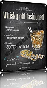 ermuhey Whisky Old Fashioned Cocktail Menu Mixed Table Tin Sign Funny Home Decor Bar Decoration Kitchen Bathroom Man Cave Metal Sign Signs & Plaques