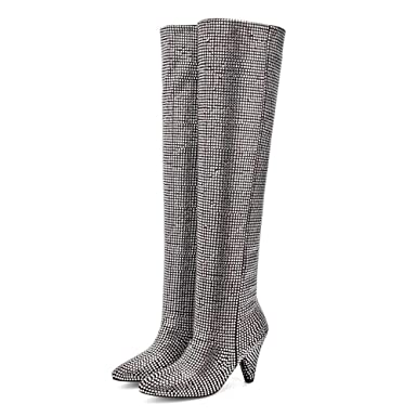 b7d380997a3 Amazon.com  Women Over The Knee Boots Rhinestone Bling High Heels Fashion  Thigh High Boots  Clothing