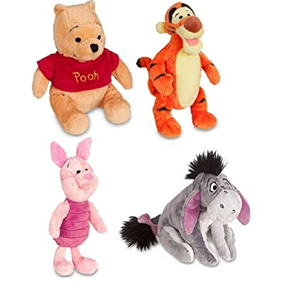Disney Store Original Winnie the Pooh Plush Set of 4 with Piglet, Tigger, Winnie and Eeyore: Toys & Games