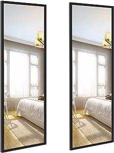 Edenseelake 2 Packs 14x48 Inch Wall Mirrors Full Length for Bedroom, Living Room, Black