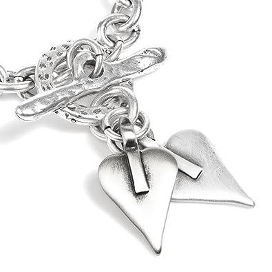 fafa57c36 * Classic Danon Jewellery: Chunky Chain Bracelet with Two Silver Signature  Hearts: Amazon.co.uk: Jewellery