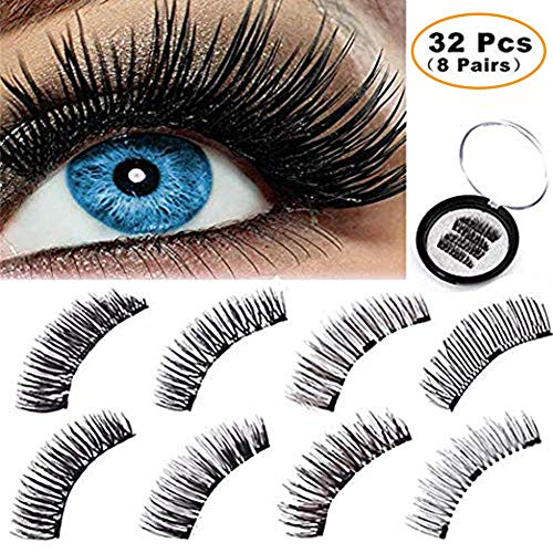 BONNIE CHOICE 32 Pcs Magnetic False Eyelashes Extension, No Glue Ideal for Deep Round Eyes Triple Magnet Hand Made Fake Eye Lash Extension False Set for Natural Look (8 Patterns)