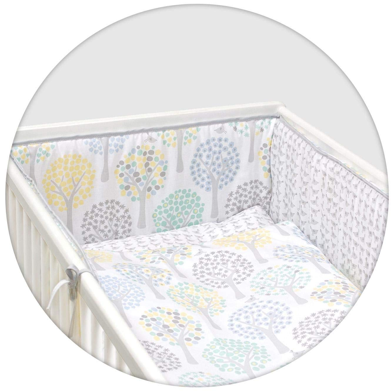10 Piece Cot Bedding Set with Safety Padded Bumper Fits Cot Bed 140x70 cm, Pattern 13
