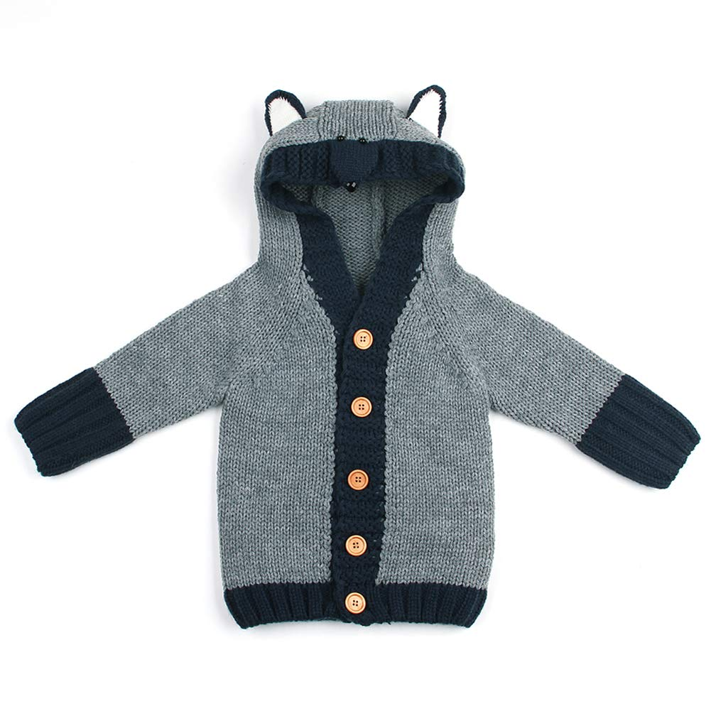 9f92ea38c Amazon.com  Exemaba Baby Boys  Hooded Cardigan Sweater - Toddler ...