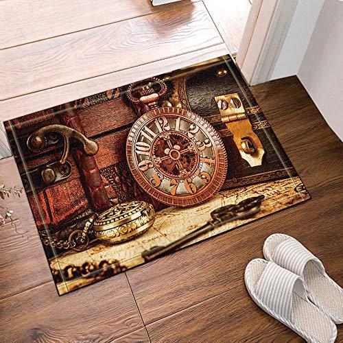 GoEoo Vintage Pocket Watch and Buried Treasure Box Bath Rugs Non-Slip Doormat Floor Entryways Outdoor Indoor Front Door Mat Kids Bath Mat 15.7x23.6in Bathroom Accessories