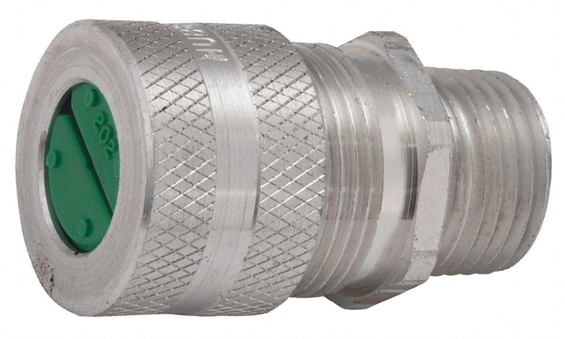 1-21/32''L Aluminum Liquid Tight Cord Connector, Silver, 0.50'' to 0.63'' Cord Dia. Range