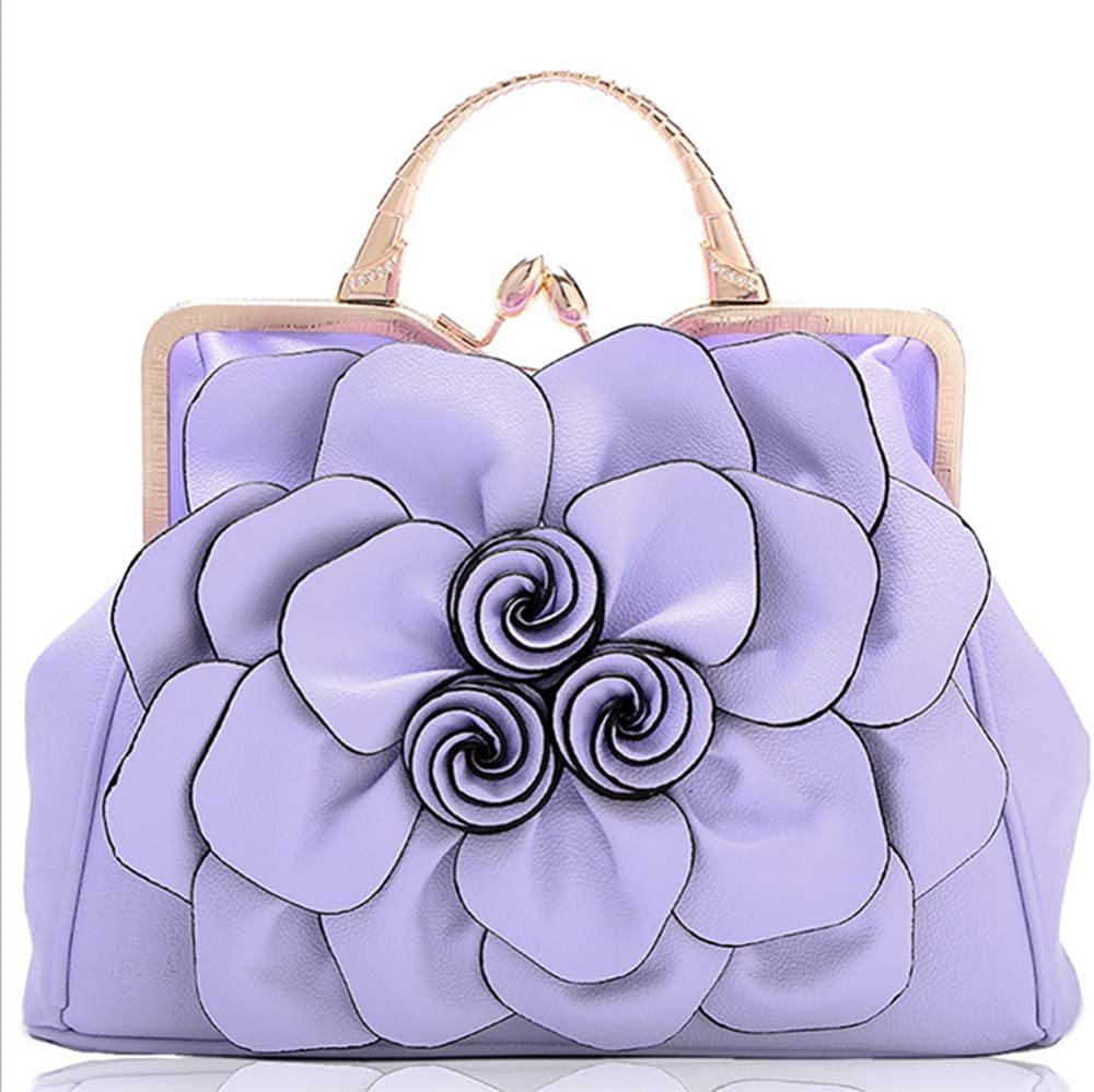 RUIKA Chinese Style Retro Rose Flower soft Leather Tote Bags Handbag Shoulder Bags