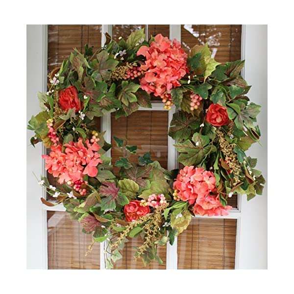 The Wreath Depot Genesee Silk Spring Door Wreath 24 Inch, White Storage Gift Box Included