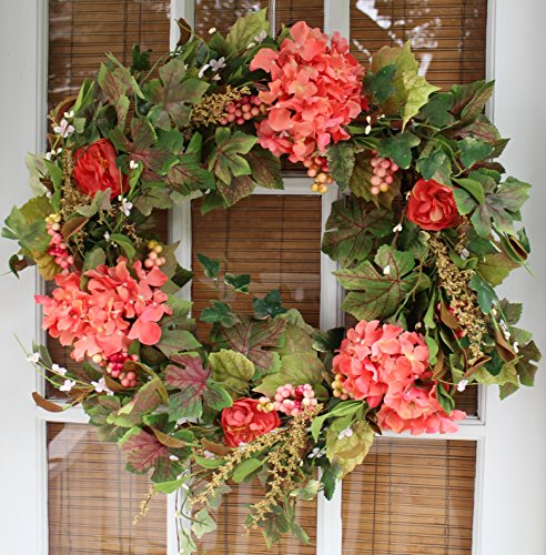 The Wreath Depot Genesee Silk Spring Door Wreath 24 Inch, White Storage Gift Box Included]()