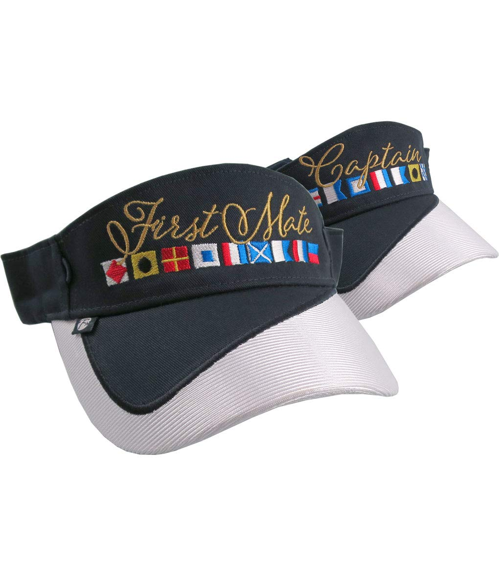 19012e38df6 Amazon.com  Captain and First Mate Nautical Flags Embroidery Couple Navy  Blue and White Visors Duo Adjustable Elegant Fashion Sun Hats  Handmade