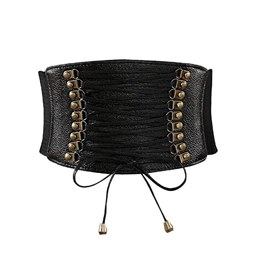 46d9b6095 Image Unavailable. Image not available for. Color: Womens PU Leather High  Waist Cincher Belt Elastic Waits Band Corsets for Wide Stretch Belts
