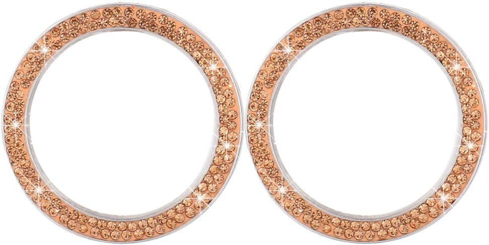 Garneck 2pcs Car Bling Rings Emblem Sticker Crystal Rhinestone Car Ignition Button Rings Bling Auto Start Engine Cover Car Interior Decor for Vehicle Auto(Golden)