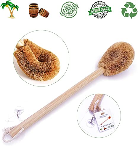 Updated Modern Version Toilet Bowl Brush, Natural Coconut Fiber Brush Head and Beechwood Handle for Bathroom Toilet - Sturdy, Deep Cleaning, Eco-Friendly, Toilet Cleaning Brush with Hanging Hook best natural bathroom cleaning products