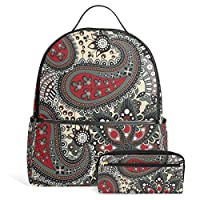 Bohemian Hippie Print Unisex Rucksack Canvas Satchel Casual Daypack ,School College Student Backpack with Pencil Case