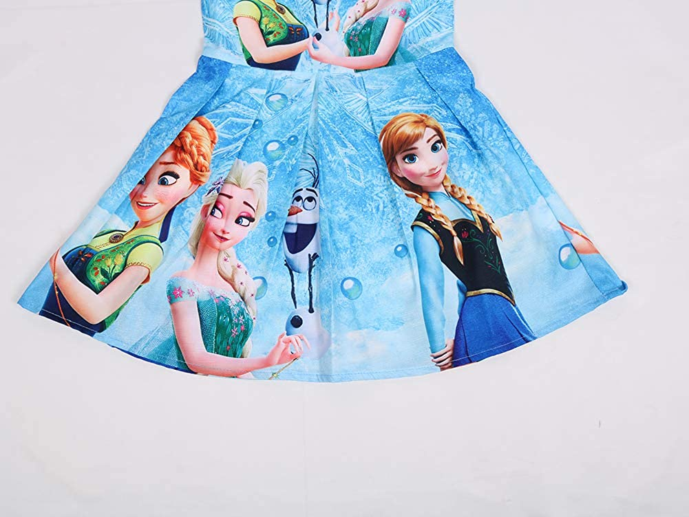WNQY Princess Anna Costume Party Dress Little Girls Cosplay Dress up