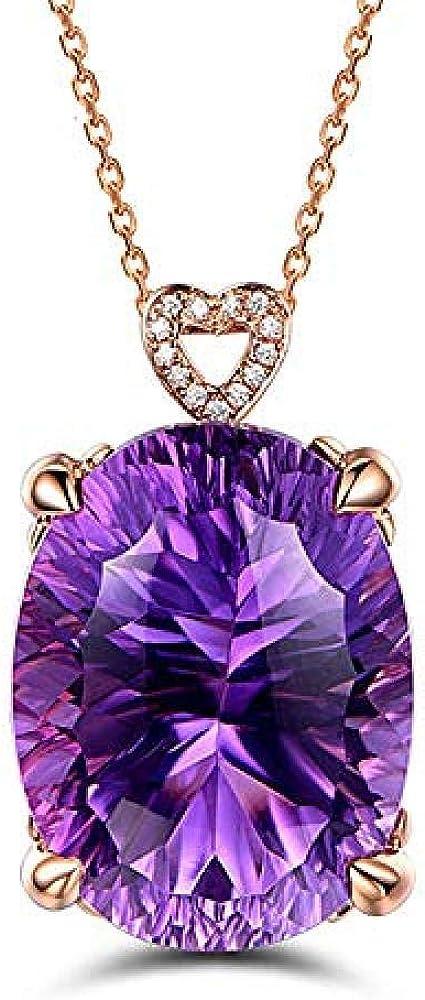 RUiillg Collar de Mujer、Gargantilla Colgante de Amatista Collar de corazón de Amatista Natural Chapado en Oro de 18 Quilates de Piedras Preciosas