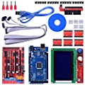 Longruner 3D Printer Controller Kit for Arduino Mega 2560 Uno R3 Starter Kits + RAMPS 1.4 with Upgraded Mosfet + 5pcs A4988 Stepper Motor Driver + LCD 12864 for Arduino Reprap