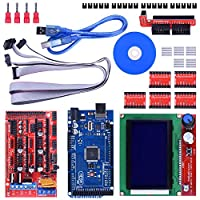 3D Printer Controller Kit for Arduino Mega 2560 Uno R3 Starter Kits + RAMPS 1.4 with Upgraded Mosfet + 5pcs A4988 Stepper Motor Driver + LCD 12864 for Arduino Reprap (14 items) from Longruner