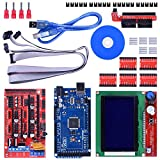 3D Printer Kit - 3D Printer Controller Kit for Arduino Mega 2560 Uno R3 Starter Kits + RAMPS 1.4 with Upgraded Mosfet + 5pcs A4988 Stepper Motor Driver + LCD 12864 for Arduino Reprap (14 Items)