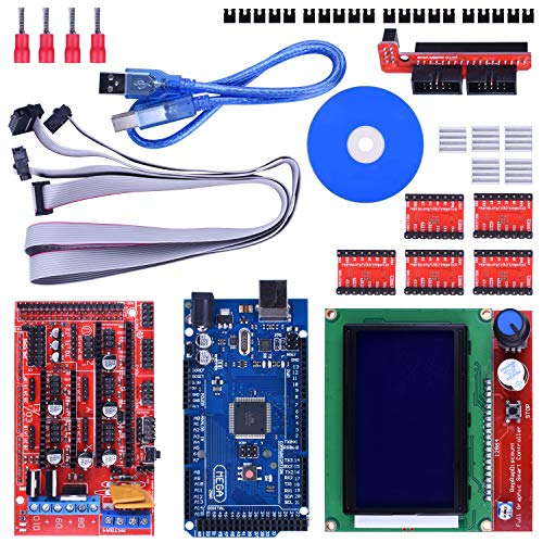3D Printer Controller Kit for Arduino Mega 2560 Uno R3 Starter Kits + RAMPS 1.4 with Upgraded Mosfet + 5pcs A4988 Stepper Motor Driver + LCD 12864 for Arduino Reprap (14 items) by Longruner