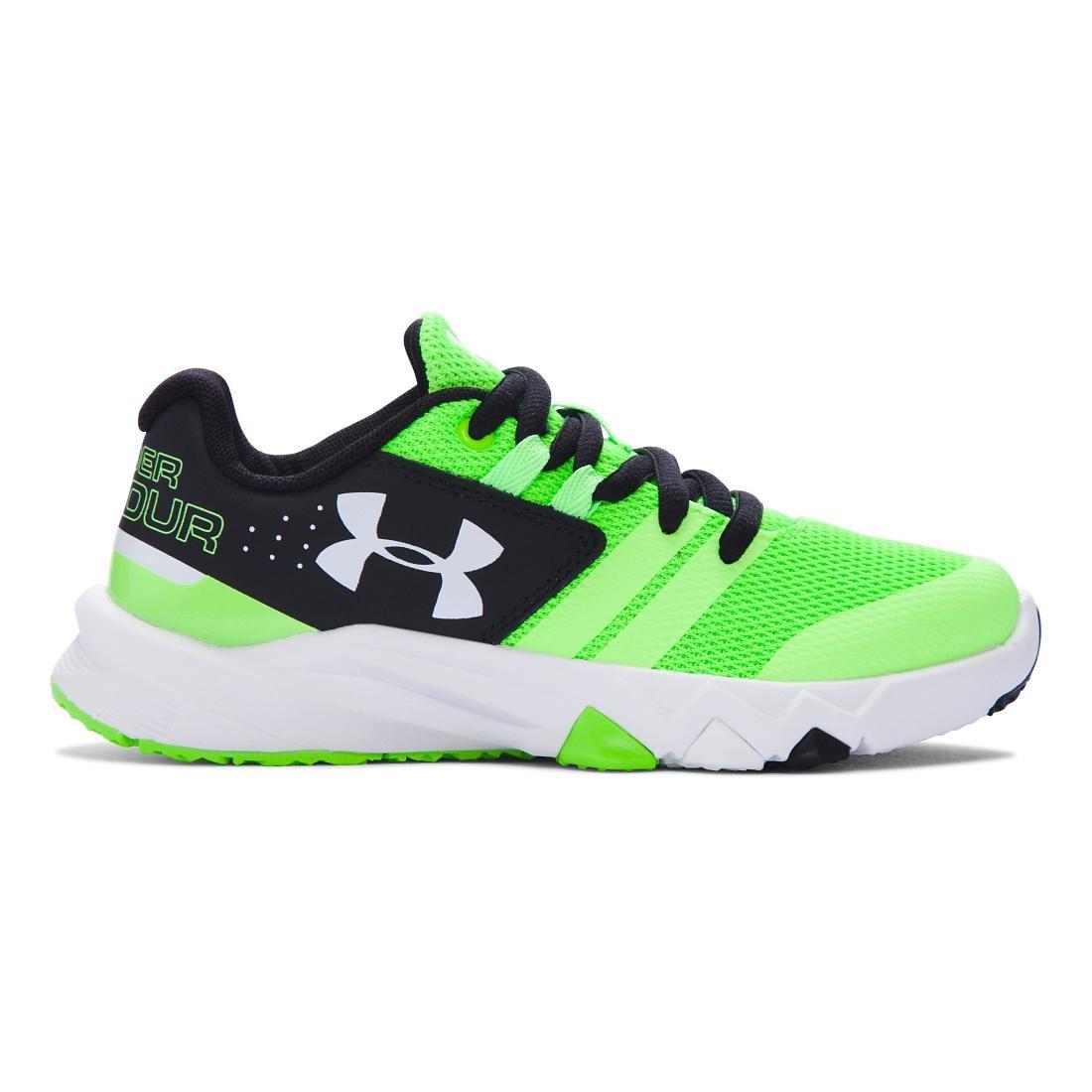Under Armour Kids' Boy's Pre School Primed Running Shoe, Graphite/Anthem Red/Steel Under Armour Kids Footwear 1273994