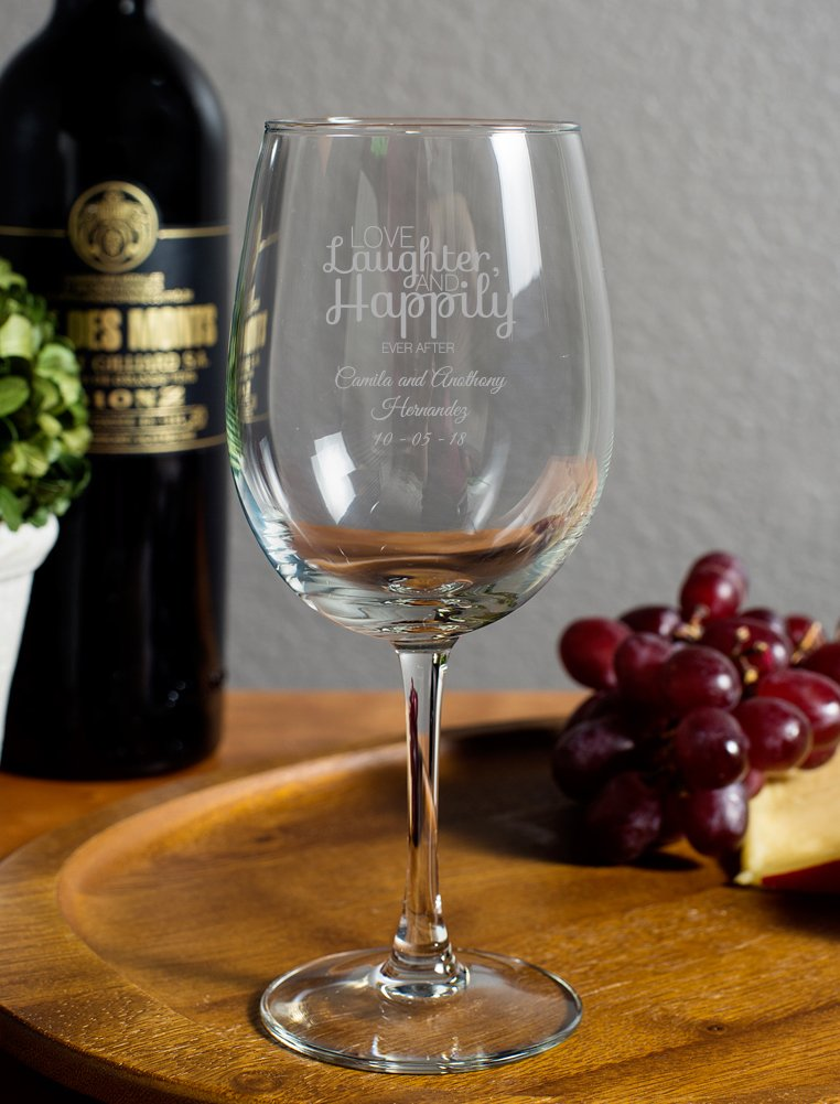 72 Pack Love Laughter Happily Ever After 12 Oz Goblet, Wine Glass with Stem Custom Printed in Silver, Housewarming Gifts For New Home Engagement Party