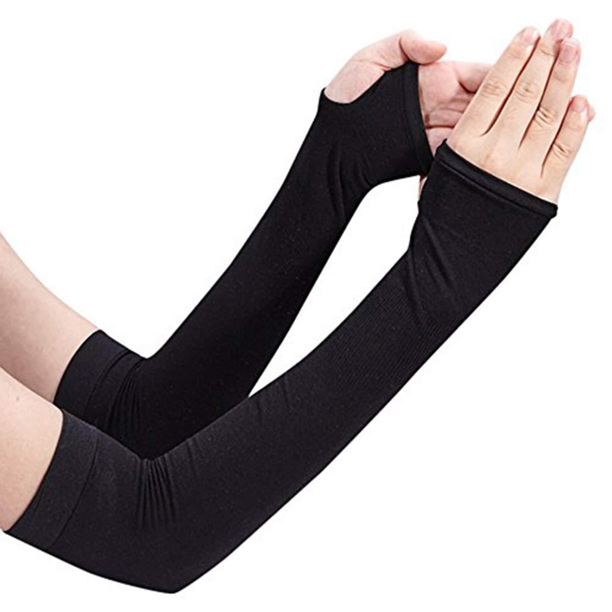 Long Gloves Scar Cover Arm Sleeves Ice Silk Sunscreen Arm Sleeves Sun UV Protection Arm Warmer Half Finger Sleeves (Color : Black)
