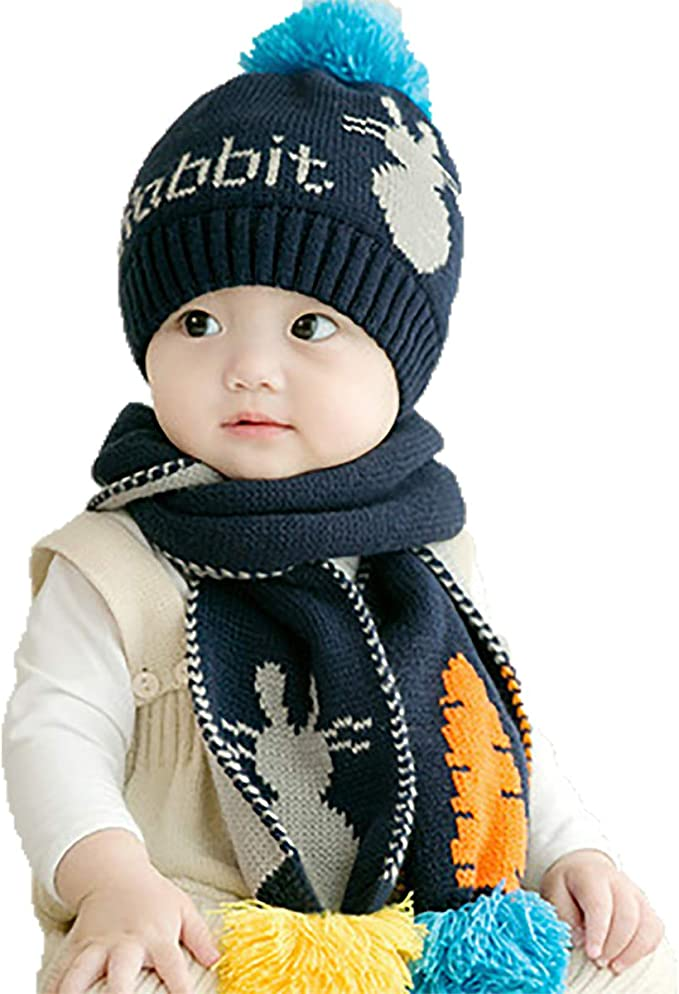 2pcs Baby Beanie Hat Scarf Set Infant Kids Star Head Cover Neck Collar Warm Caps