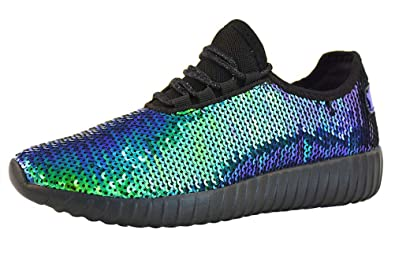 f234e9fdc10c Lucky Step Women Mermaid Sequin Glitter Tennis Sneakers for Spring Gold  Reversible Turquoise Green Gold Gym