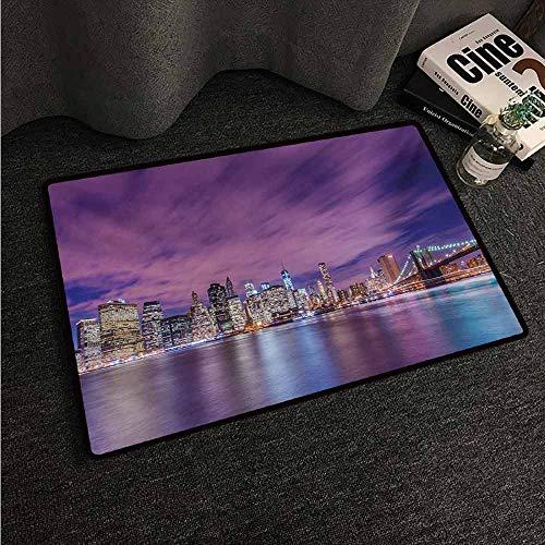 (HCCJLCKS Waterproof Door mat Modern New York City Skyline at Night with Skyscrapers Manhattan USA American Panorama Machine wash/Non-Slip W24 xL35 Violet Purple)