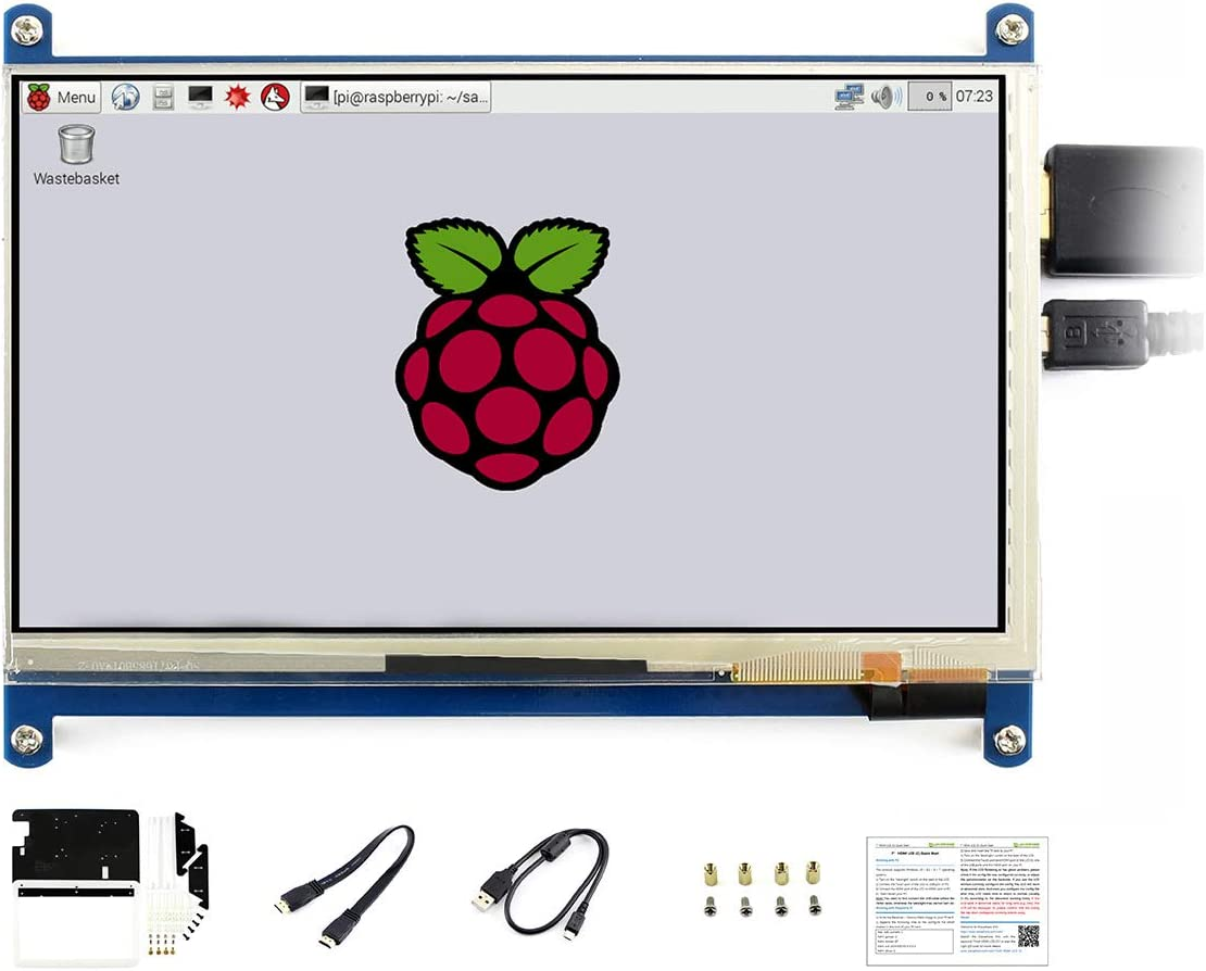 Waveshare 7inch HDMI LCD C Raspberry pi 3 Model B//3 B+//2 B//B+//B//A BB Black Banana Pi with Bicolor Case Capacitive Touch Screen Display Supports Various Systems for All Ver