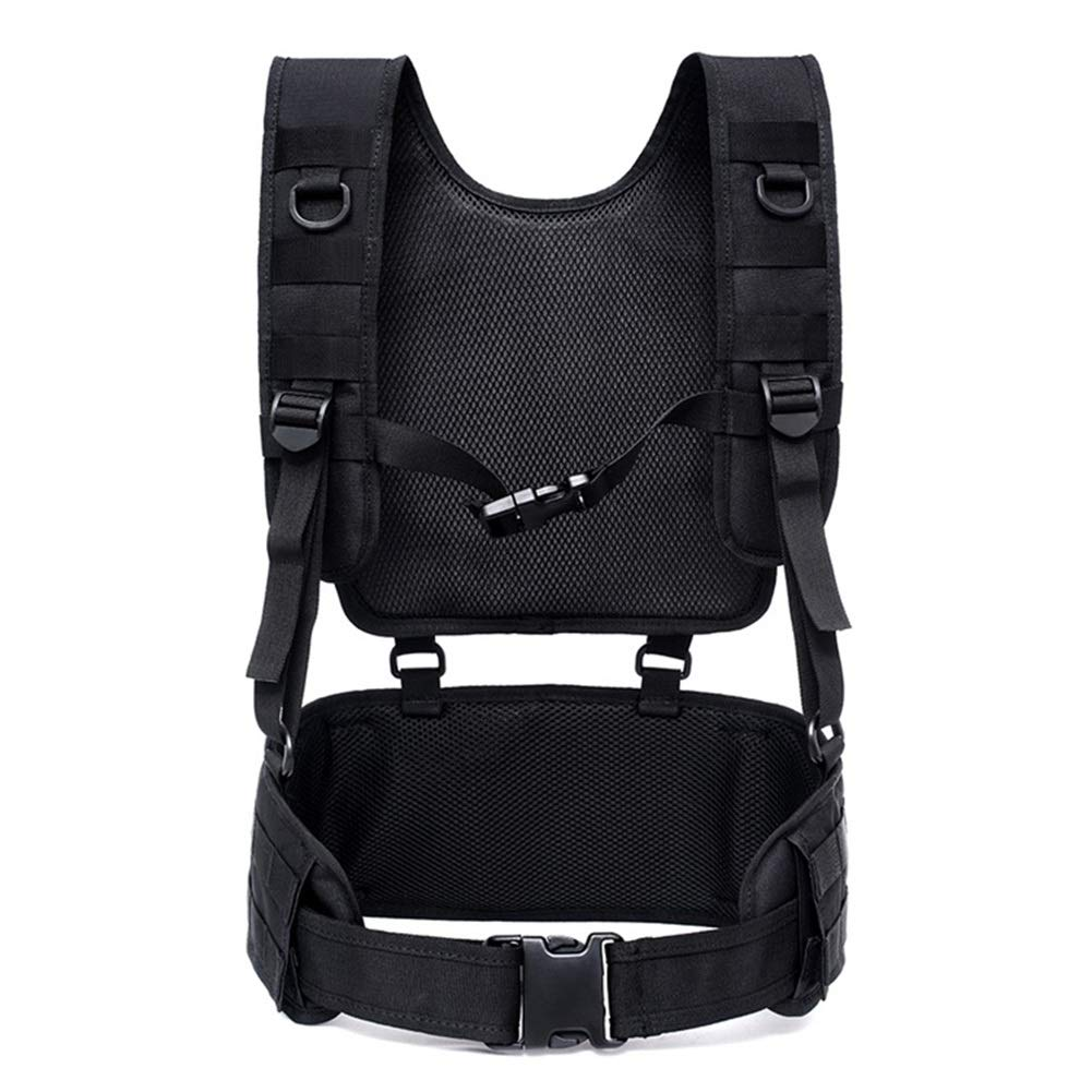 TUXI Tactical Vest with Suspender Straps, Comfortable Airsoft Battle Belt, Perspirated Chest Harness with Molle System for Patrol Army Training Outdoor and Field Training by TUXI