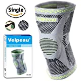 Velpeau Knee Brace - Best Knee Support with Patella Gel Pads & Side Stabilizers - Compression Sleeve Stabilization of The Knee, Provides Relief of Pain, Weak, Swollen & Injured Knees - Gray, L