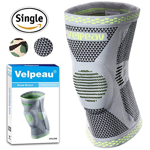Velpeau Knee Brace - Best Knee Support with Patella Gel Pads & Side Stabilizers - Compression Sleeve Stabilization of The Knee, Provides Relief of Pain, Weak, Swollen & Injured Knees - Gray, L by Velpeau