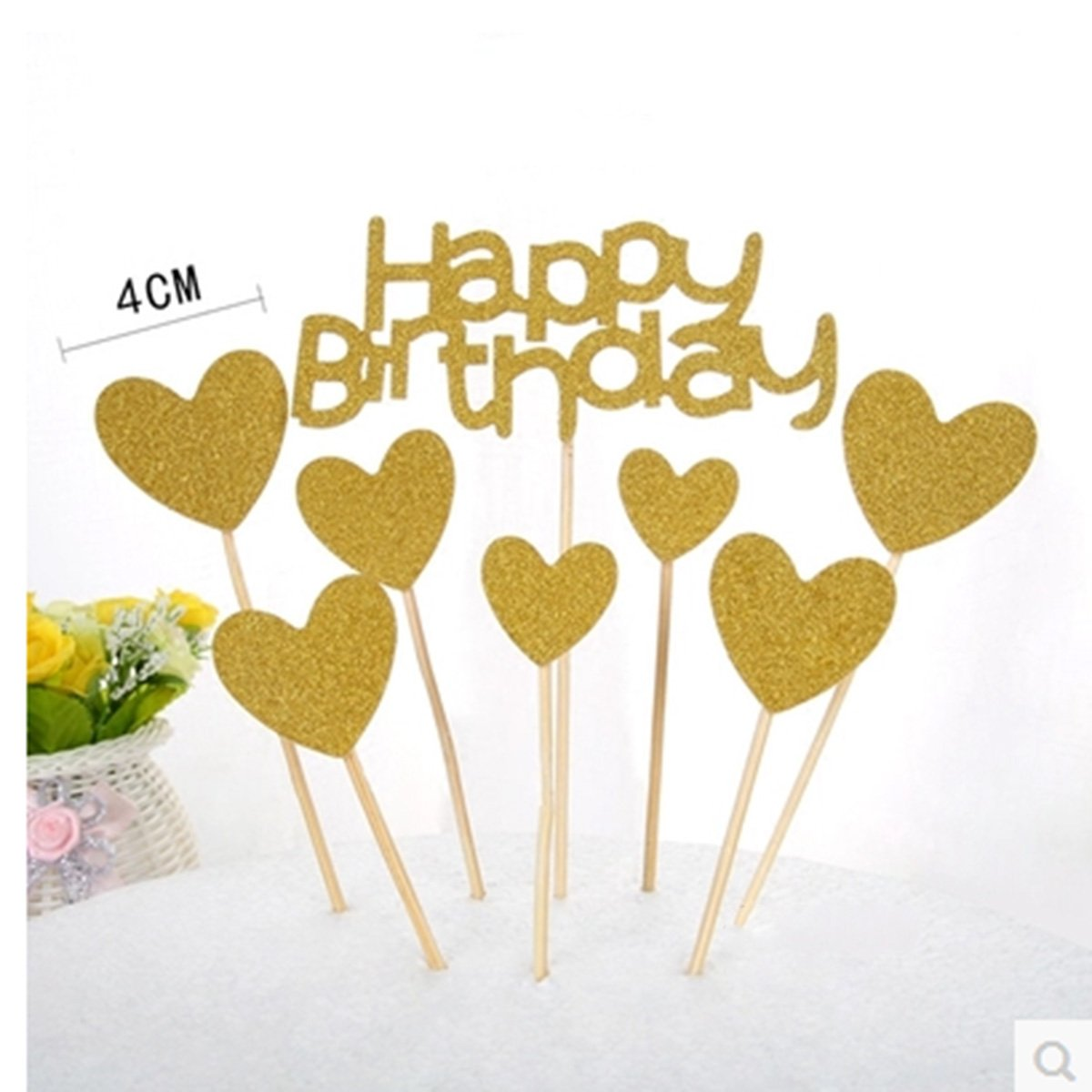 Gold Glitter Heart Large Cupcake Toppers DIY Mini Glitter Birthday Cake Decoration Picks Weddings 40PCS CiCy Heart Cupcake Toppers Bridal or Baby Shower Party Suplliers