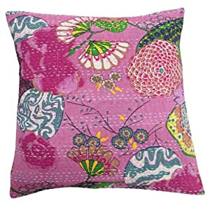 Pink Floral Pattern Cotton Kantha Stitch Cushion Cover Handmade Pillow Case Indian Art 16 Inches