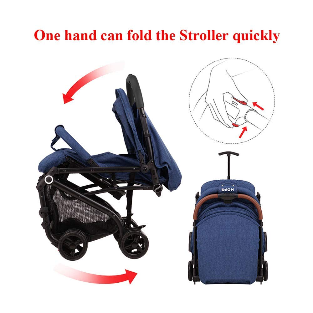 2019 Baby Stroller,Lightweight Compact Travel Stroller – One Hand Fold,Umbrella Stroller,Linen Fabric,Full Recline Up 170 – Baby Can Sit Or Lie Down, Pull Handle, Can Take It On The Airplane Grey
