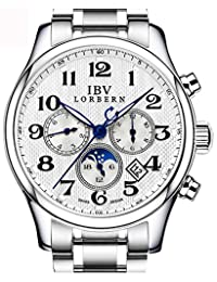Mens Swiss Technology Automatic Watches with Sapphire Mirror Moon Phase Calendar and 24 Hours White