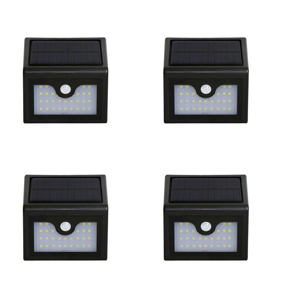 Hense 28 LED Solar Licht mit Solar Panel benötigen, Wireless Wasserdicht Security Motion Sensor Licht für Terrasse, Deck, Hof, Garten, Auffahrt oder jeder anderen Baustellen KF018, schwarz, 4er-Packung