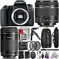 Canon EOS 77D DSLR Camera with 18-55mm and 55-250mm Lenses Kit w/ Advanced Photo and Travel Bundle