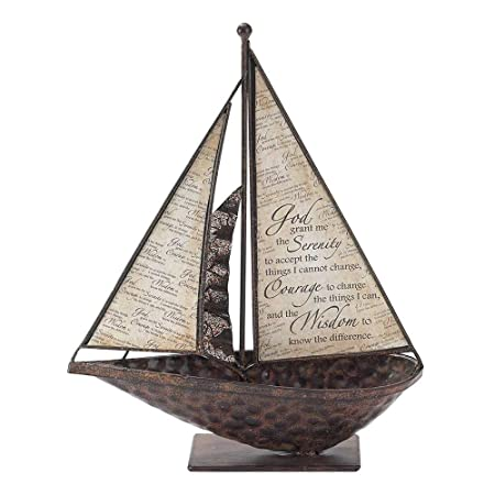 Dicksons Serenity Prayer Parchment Paper 10.5 x 9.5 Metal Table Top Sailboat Figurine Decoration